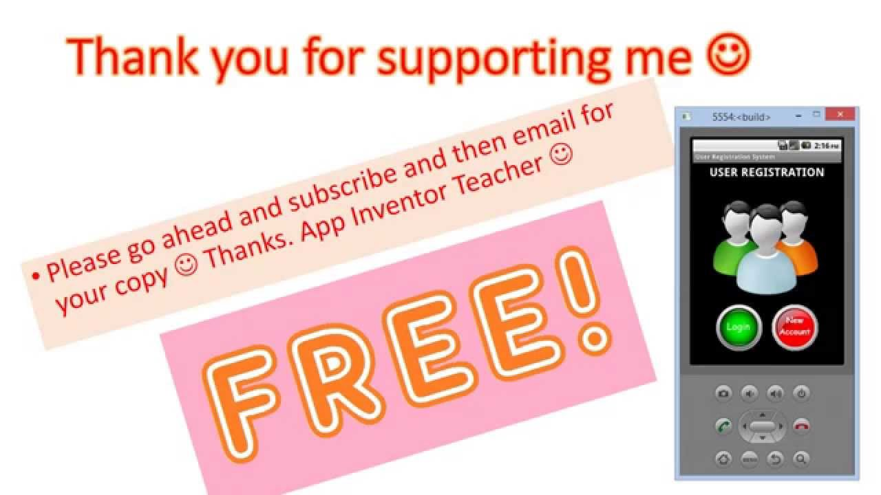 FREE User registration system for all my subscribers :) App Inventor 2