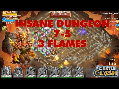 New Way To 3 Flames Insane Dungeon 7-5 | Castle Clash