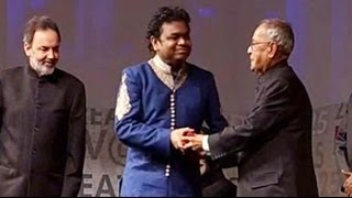 A R Rahman receives his award from the President of India