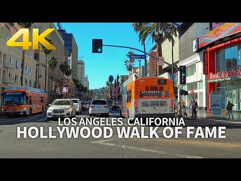 [4K] LOS ANGELES - Driving Hollywood Walk of Fame, Hollywood Blvd, California, USA, Travel, 4K UHD