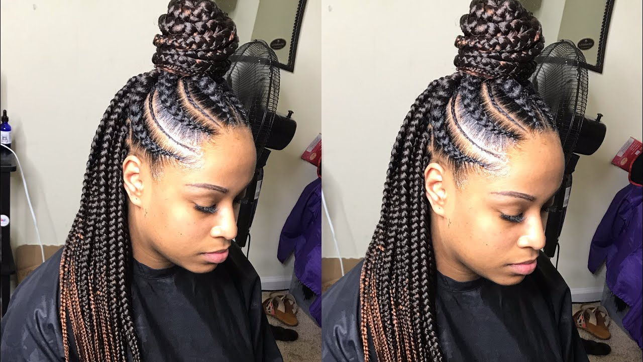Large Feed In Box Braids Tutorial Very Detailed Youtube