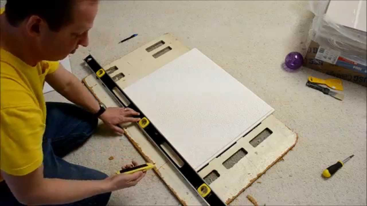 How to custom cut suspended ceiling tiles youtube doublecrazyfo Choice Image