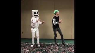 Ninja & Marshmello PON PON DANCE AND FORTNITE EMOTE