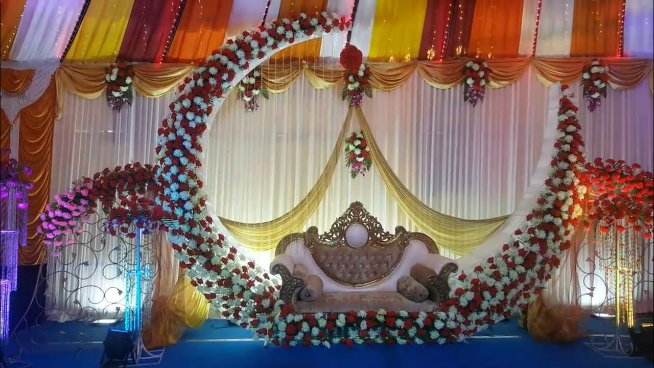 Wedding Stage Flowers Decoration Marriage Hall Decoration