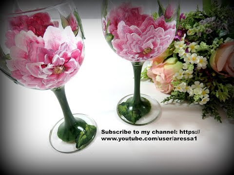 Hand Painted English Rose Wine Glass Video