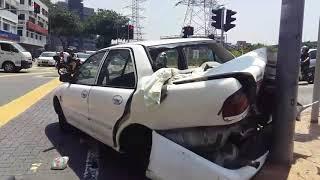 Proton wira accident at Taman Maluri.