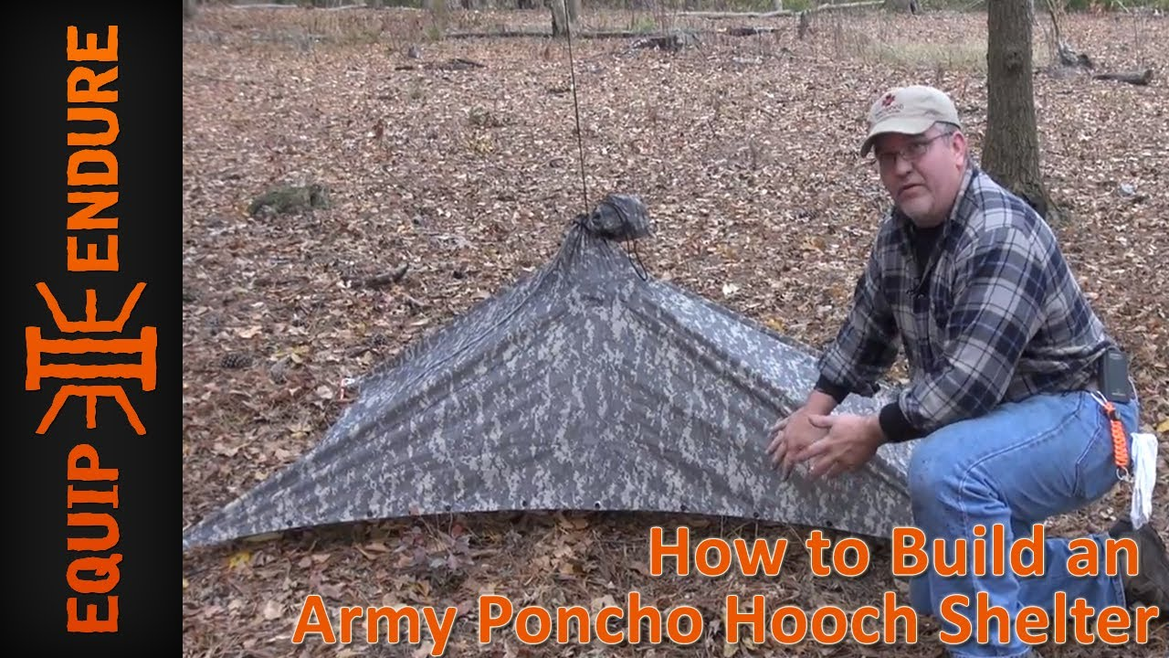 How to Build an Army Poncho Hooch Shelter by Equip 2