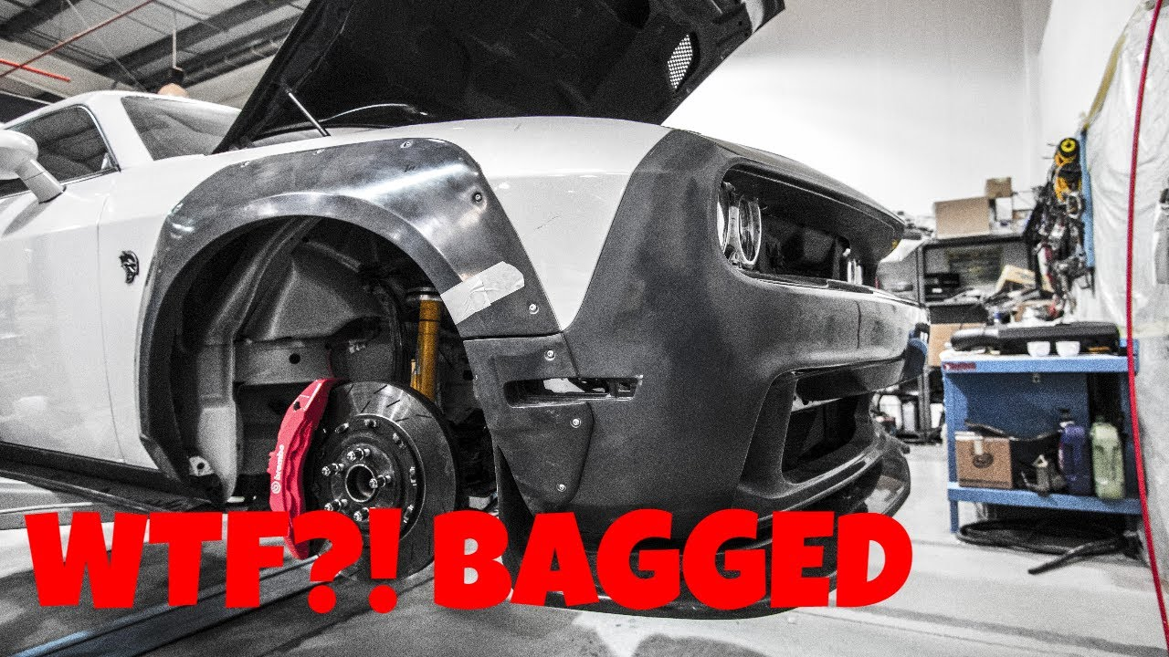 Challenger Srt Hellcat >> Wide Dodge Challenger Hellcat Gets Air Suspension - YouTube