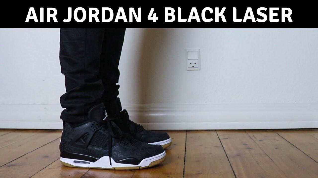19c3162a7f8dc8 Air Jordan 4 Black Laser On Feet - YouTube