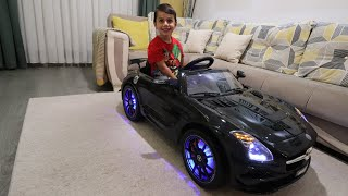 Akülü Araba Siyah Mercedes Benz SLS AMG! Açtık,Kurduk,Bindik,Çok Eğlendik!
