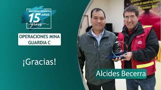 Reconocimiento 15 años de servicio - Alcides Becerra