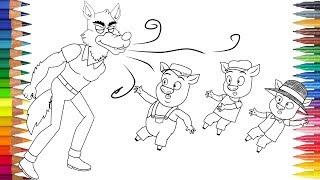 TIGA BABI KECIL dan serigala Menggambar dan mewarnai
