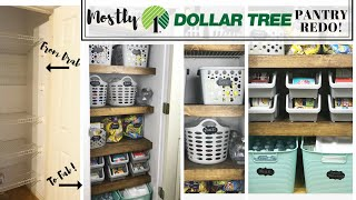DOLLAR 💵 💲STORE Pantry Redo❗️+ Wood Shelf Overlay | Organizing On A Budget