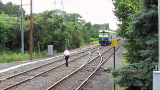 LIRR Trains 2708 and 2709 Meet at Hampton Bays on Friday August 22, 2014.