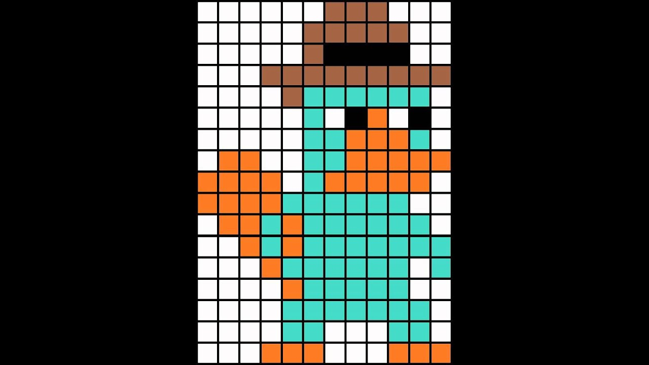 Minecraft pixel art template perry the platypus - YouTube - minecraft pixel art template