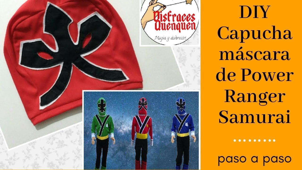 9bb47bb01 DIY. DISFRAZ de Power Rangers Samurai. COMO HACER una MÁSCARA CAPUCHA paso  a paso. by Disfraces Quenquen