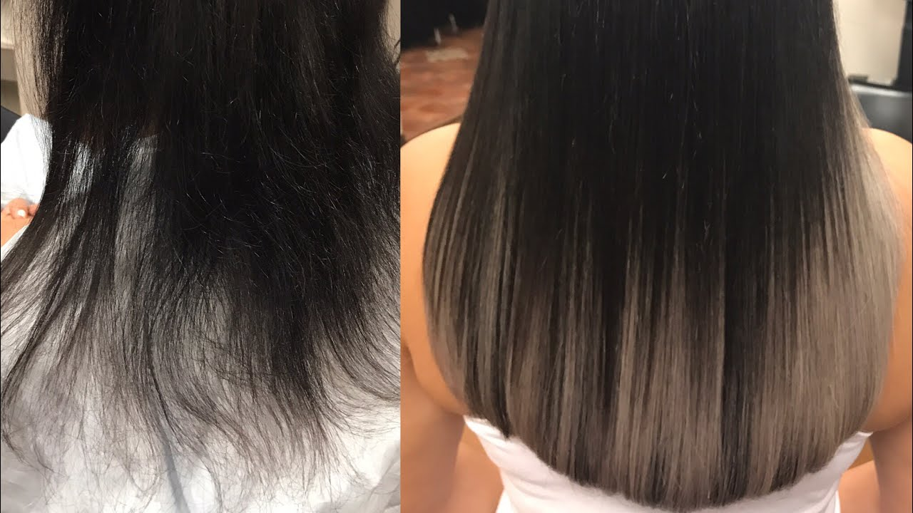 How To Do Tape In Extension Grey Ombre By Euqinad Close Up Tutorial