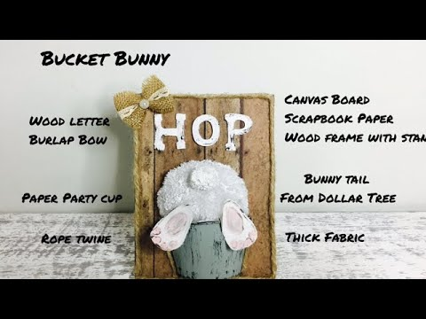 Farmhouse Style Spring Easter DIY Bucket Bunny