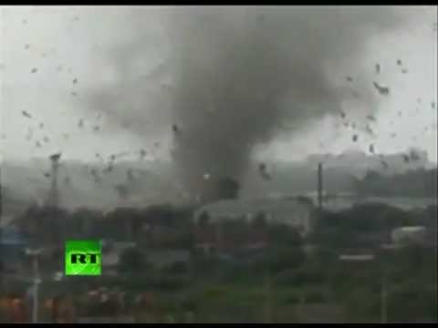 New dramatic video: Rare Russian tornado rips through town