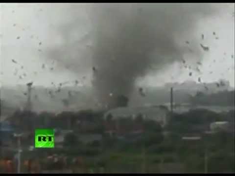 New dramatic video: Rare Russian tornado rips through town