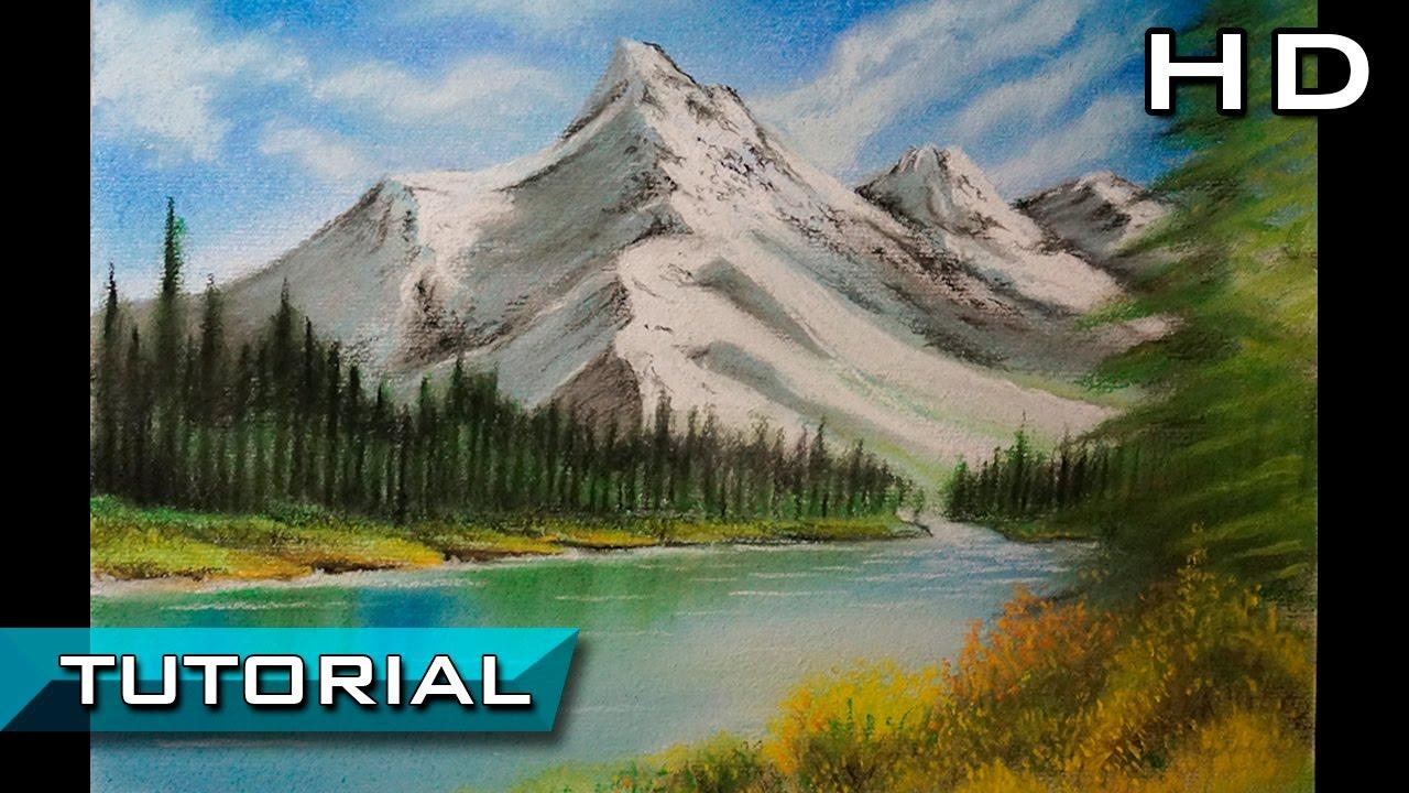 Cómo Dibujar Un Paisaje Fácil Al Pastel Paso A Paso Dibujo De Un Paisaje Y Montañas Tutorial