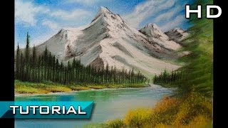 Cómo Dibujar un Paisaje Fácil al Pastel Paso a Paso - Dibujo de un Paisaje y Montañas - Tutorial