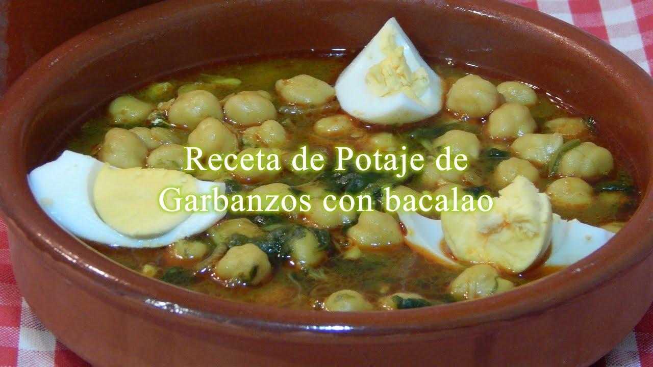Receta de potaje de garbanzos con bacalao y espinacas - Potaje con bacalao y espinacas ...