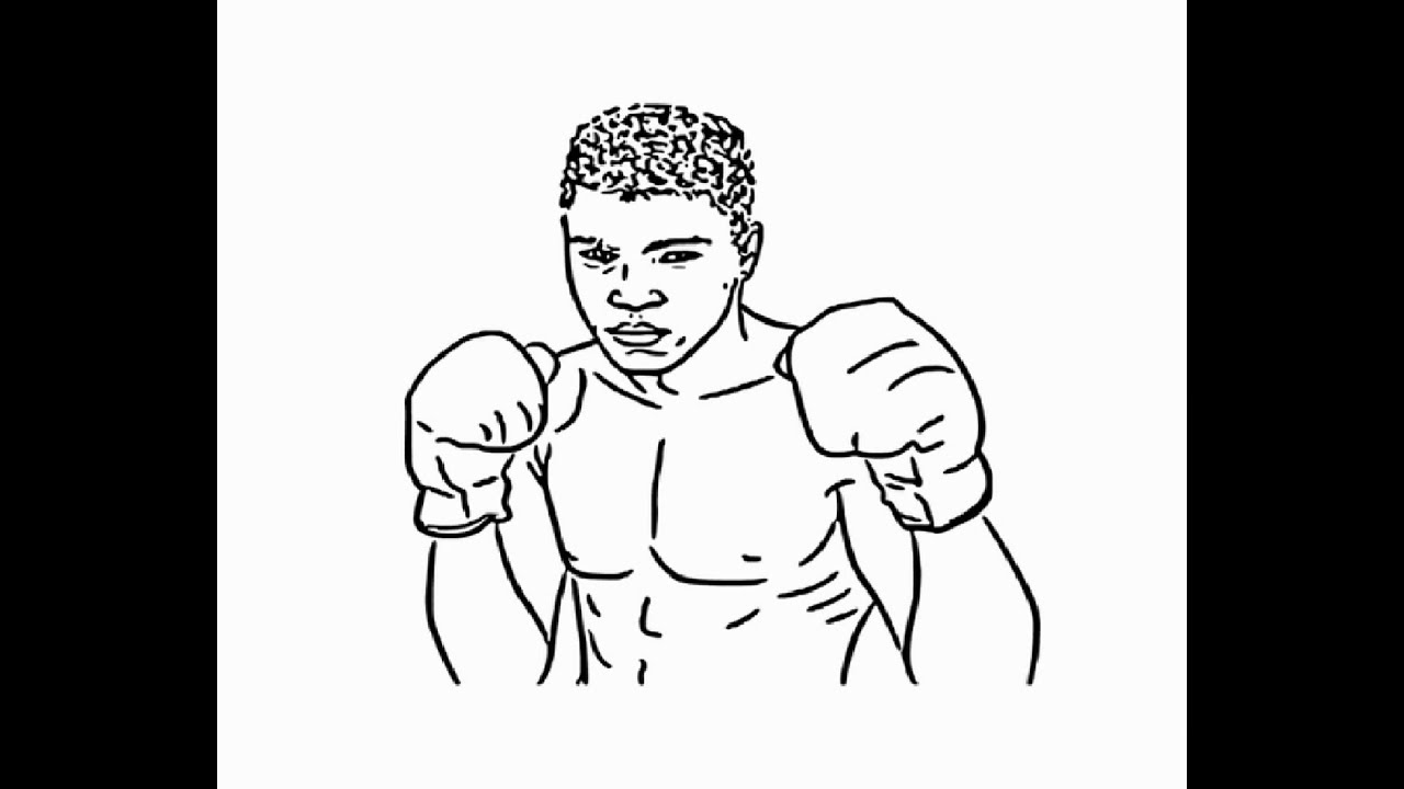 How To Draw Boxer Muhammad Ali Face Drawing Step By Step Youtube
