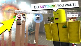 HE LET ME DO ANYTHING TO HIS GAME.. (Roblox)