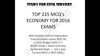 TOP 225 MCQ's  ( economic Survey + Budget + NCERT + Ramesh Singh)  FOR 2016  EXAMS part 1
