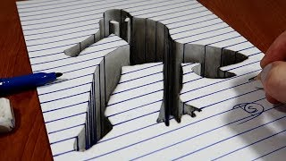 3D Trick Art on Line Paper   Spider Man