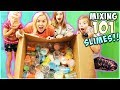 WE MIXED OVER 100 SLIMES AND MADE GIANT SLIME BUBBLES!!