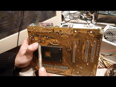 Пройдёмся по помойкам # 6 РЕМОНТ и первое включение материнской платы ASUS, на базе процессора AMD.