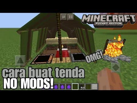 Cara Membuat Tenda+api Unggun Di MinecraftPE No Mods!