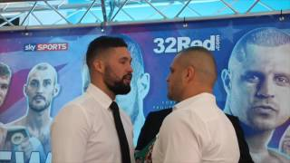 TONY BELLEW & BJ FLORES EXCHANGE WORDS AT HEAD TO HEAD @ PRESS CONFERENCE / BELLEW v FLORES