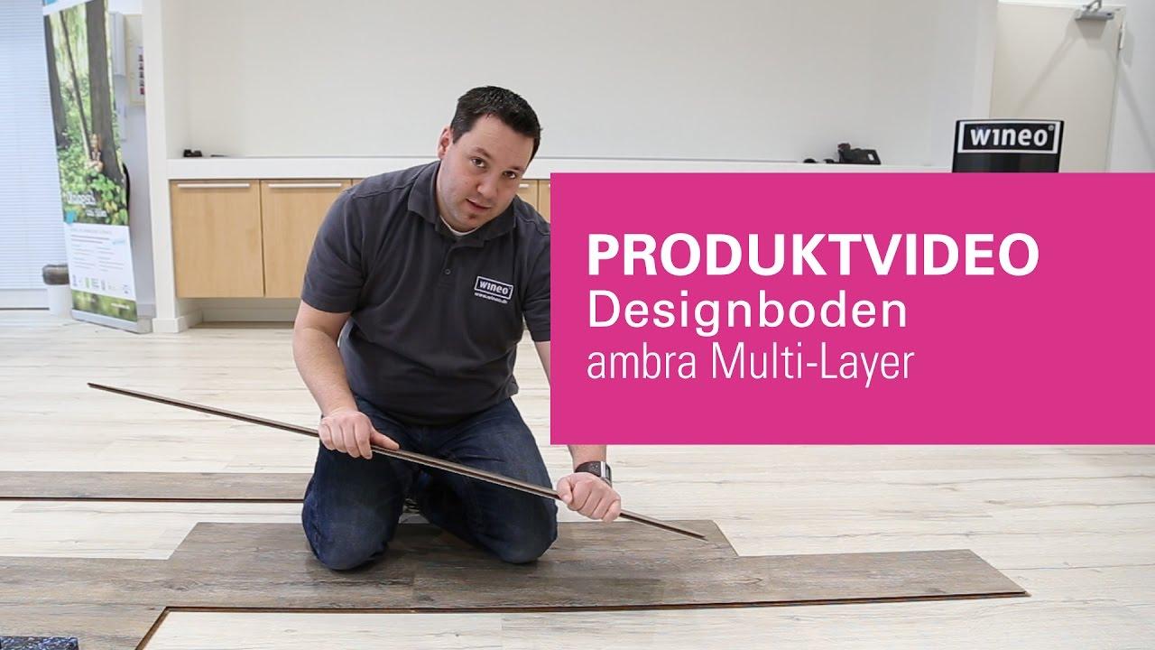 wineo vinylboden zum klicken auf hdf tr ger ambra multi layer youtube. Black Bedroom Furniture Sets. Home Design Ideas