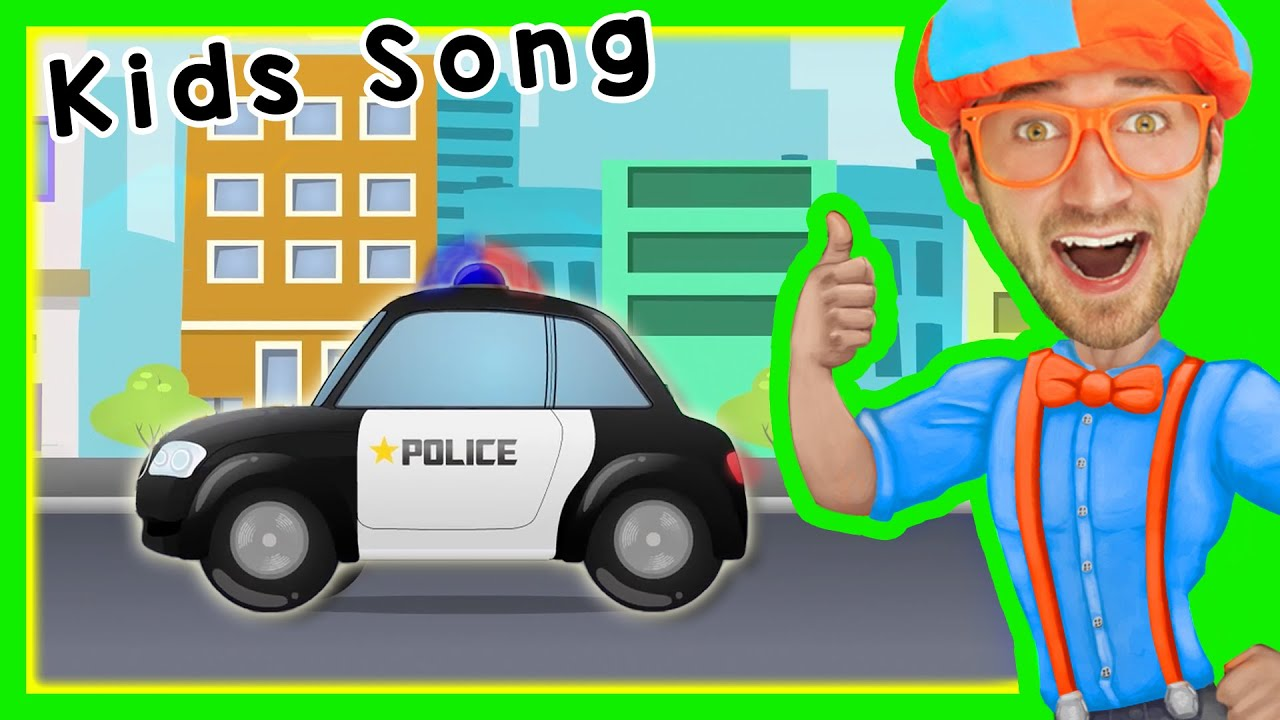 police cars for children with blippi songs for kids youtube
