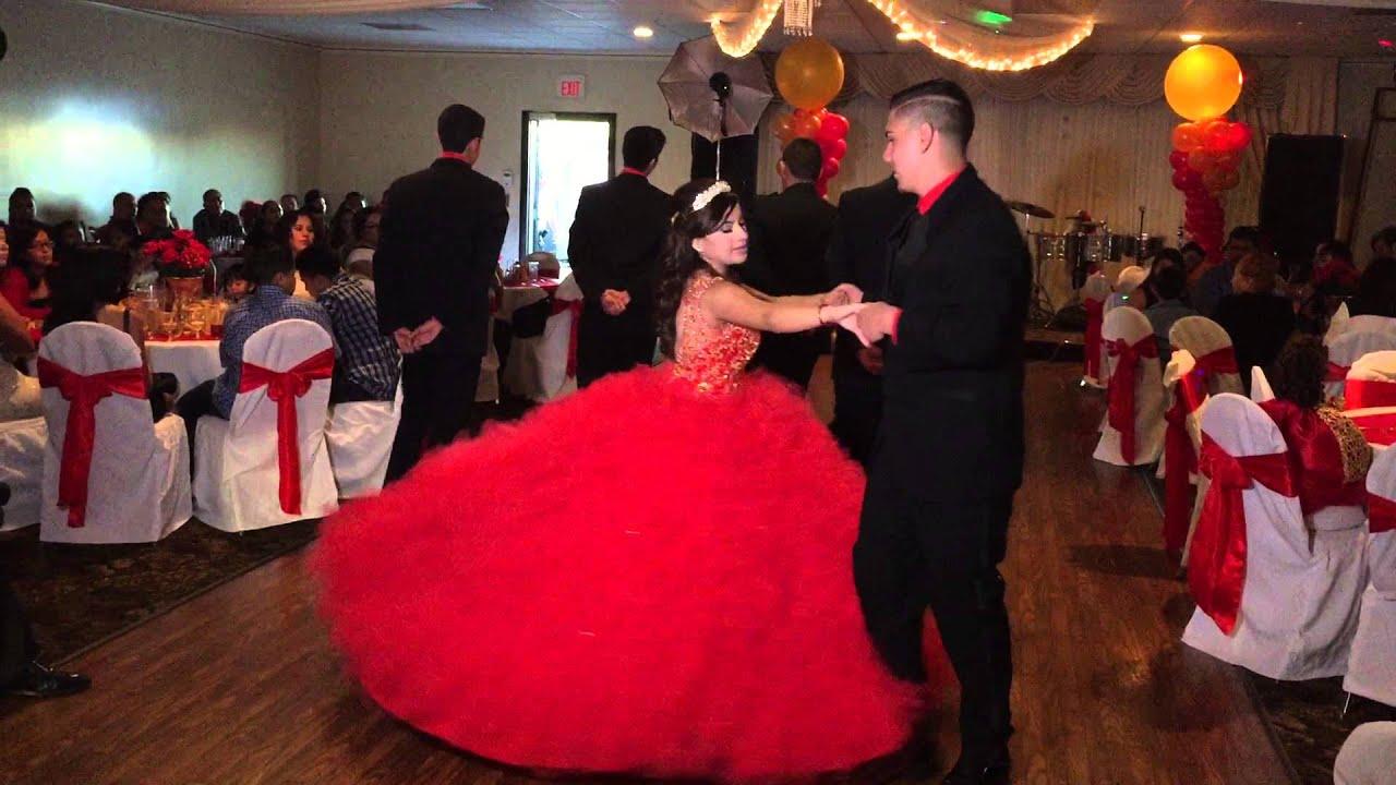 Red dress quinceanera vals