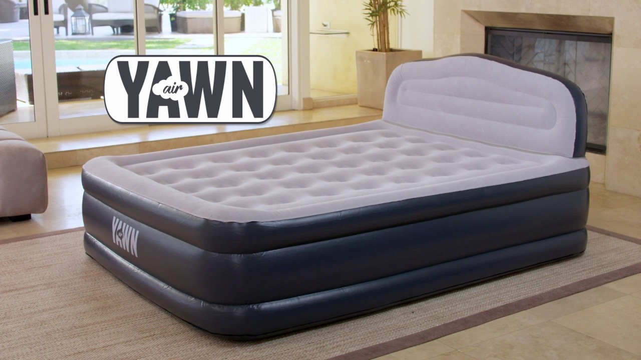 Super Fast Self-Inflating Airbed with Built-in Pump and Space Friendly Headboard Full with Fitted Sheet YAWN Air Bed