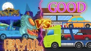 Good vs Evil | Auto Transport Truck | Battle video for kids | Cars Cartoon