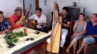 Thiago Raja tocando escuta minha canção - harpa paraguaia