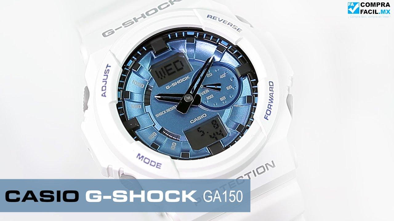 cea1f5f59c70 Reloj Casio G-Shock GA150 Blanco con Azul - www.CompraFacil.mx - YouTube