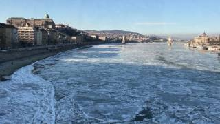 Ice drift on the river Danube in Budapest, Hungary