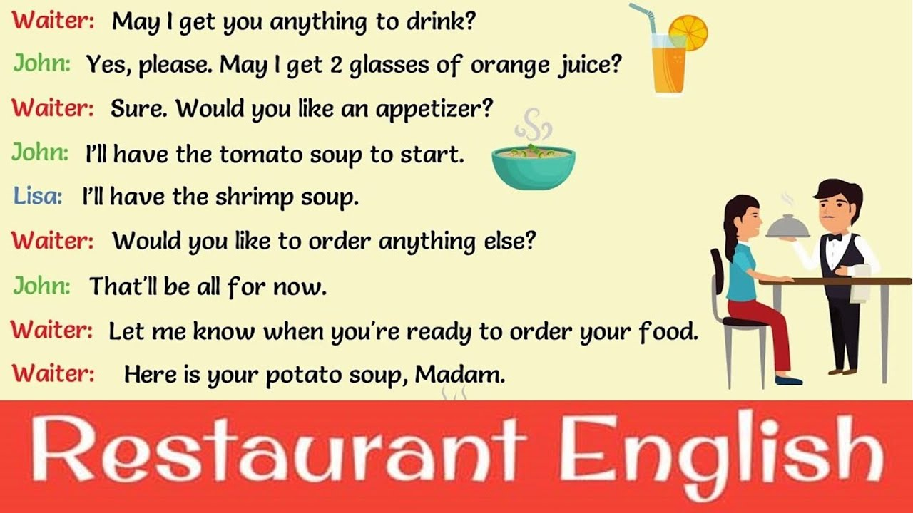 English Phrases To Use At A Restaurant Making A Reservation Ordering Making Comments On Food Youtube
