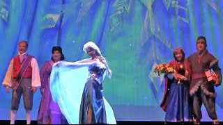 NEW Frozen stage show projection effects in Let It Go finale at Disneyland with Elsa, Anna, Kristoff