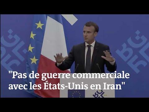 """""""Pas de guerre commerciale avec les États-Unis en Iran"""", prévient Emmanuel Macron"""