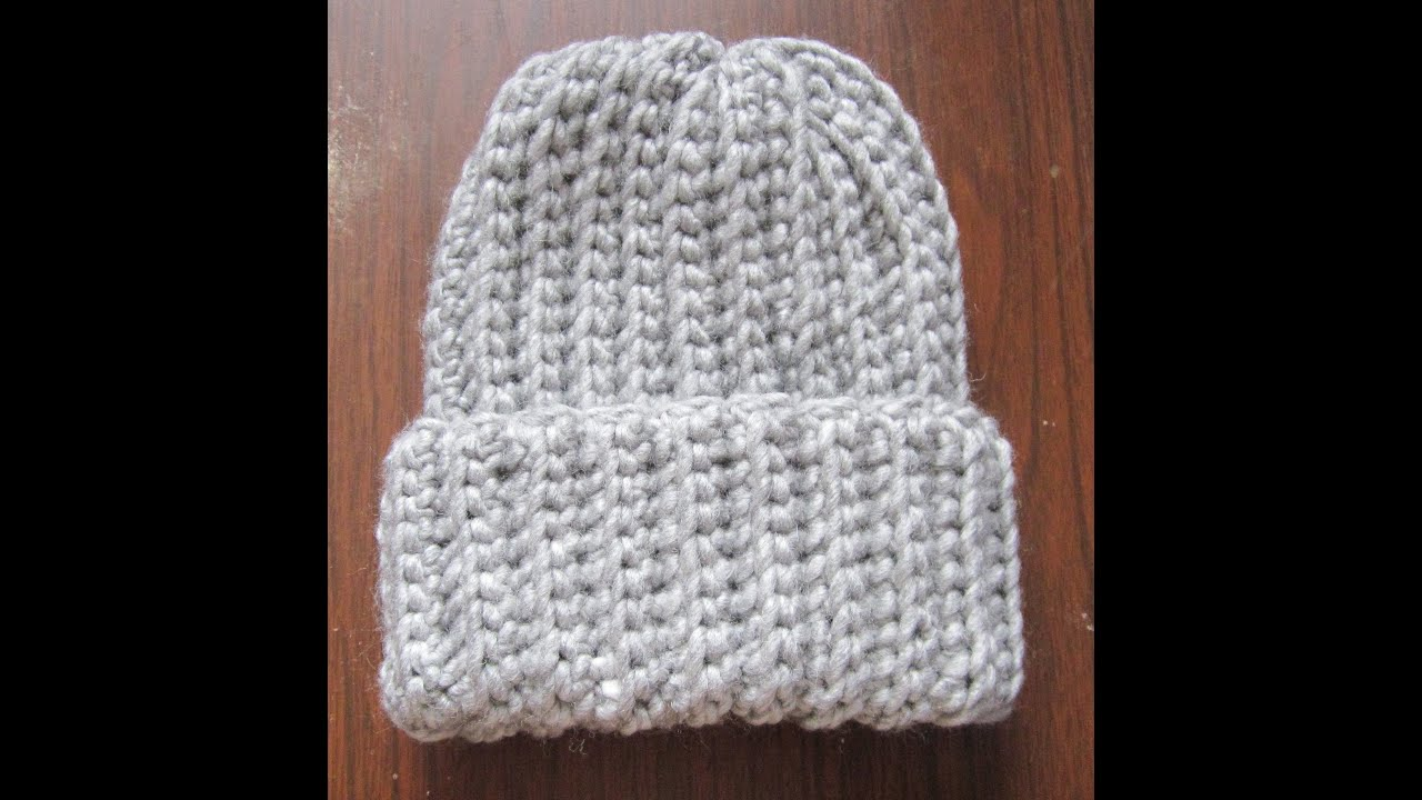 Crochet Pattern Mens Hat With Brim : Crochet Ribbed Hat - YouTube