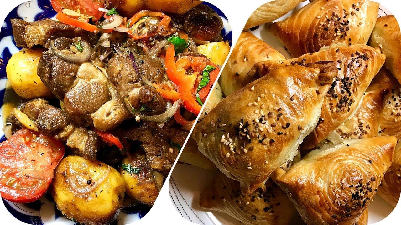 Самса слоеная и казан кебаб (жаркое, картофель с мясом) из свиной шейки. roast , layer cake , meat