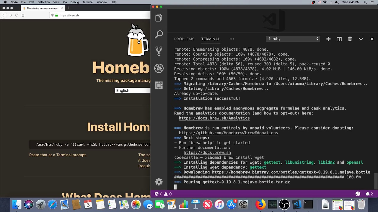Homebrew setup on a new Mac