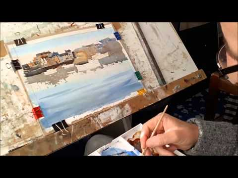 Watercolour painting for beginners, boats, buildings , skies